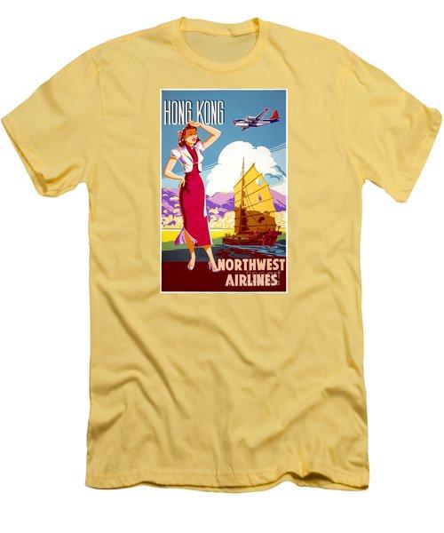 Hong Kong Vintage Travel Poster Restored Men's T-Shirt (Slim Fit) by Carsten Reisinger
