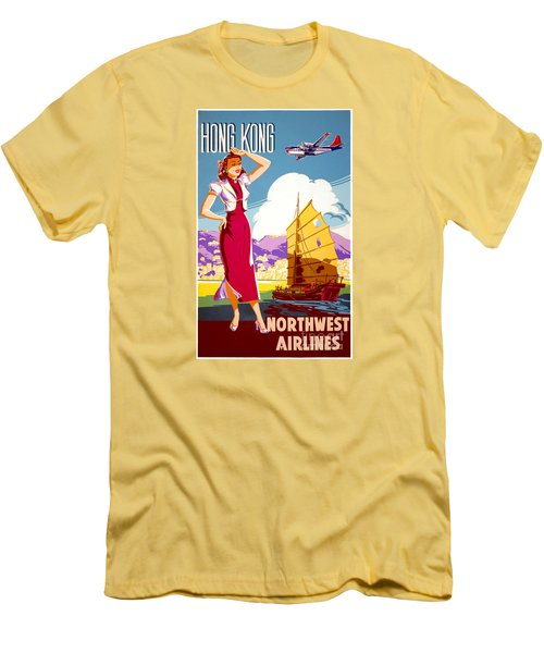 Hong Kong Vintage Travel Poster Restored Men's T-Shirt (Athletic Fit)