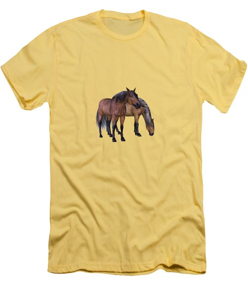 Horses In A Misty Dawn Men's T-Shirt (Athletic Fit)