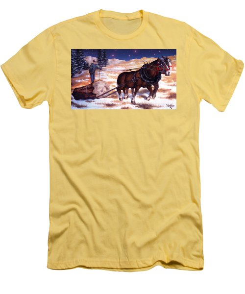 Horses Pulling Log Men's T-Shirt (Athletic Fit)