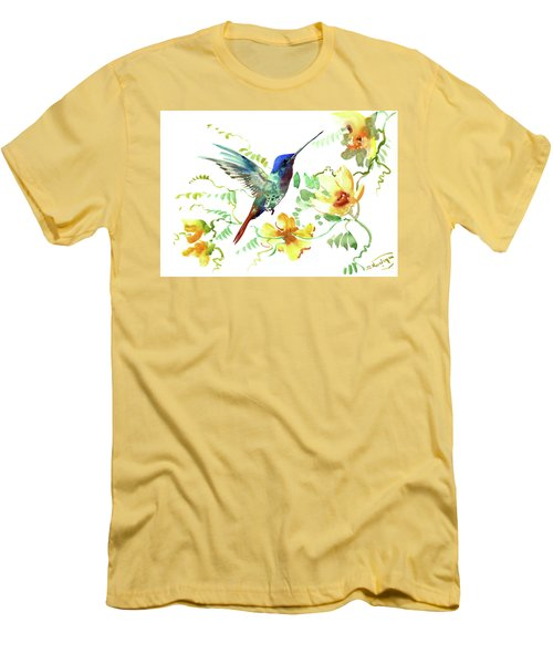 Hummibgbird And Yellow Flowers Men's T-Shirt (Athletic Fit)