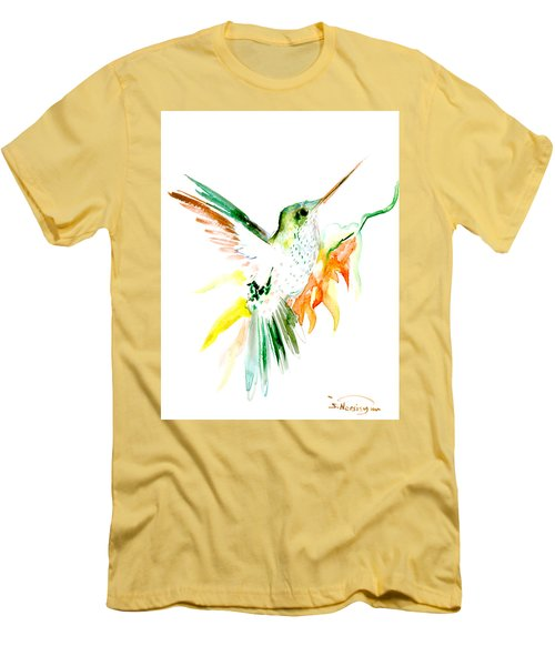 Hummingbird Green Orange Red Men's T-Shirt (Athletic Fit)