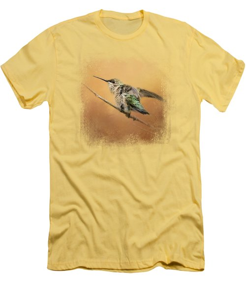 Hummingbird On Peach Men's T-Shirt (Slim Fit) by Jai Johnson