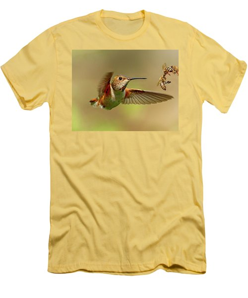 Hummingbird Vs. Bees Men's T-Shirt (Athletic Fit)