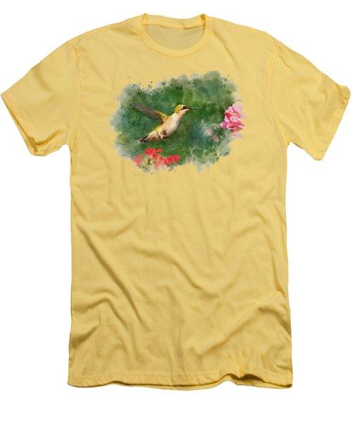 Hummingbird - Watercolor Art Men's T-Shirt (Athletic Fit)
