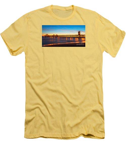 Huntington Beach Pier - Twilight Men's T-Shirt (Slim Fit) by Jim Carrell