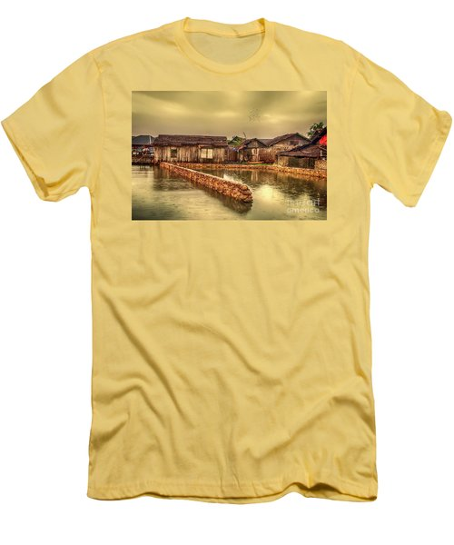 Men's T-Shirt (Slim Fit) featuring the photograph Huts 2 by Charuhas Images