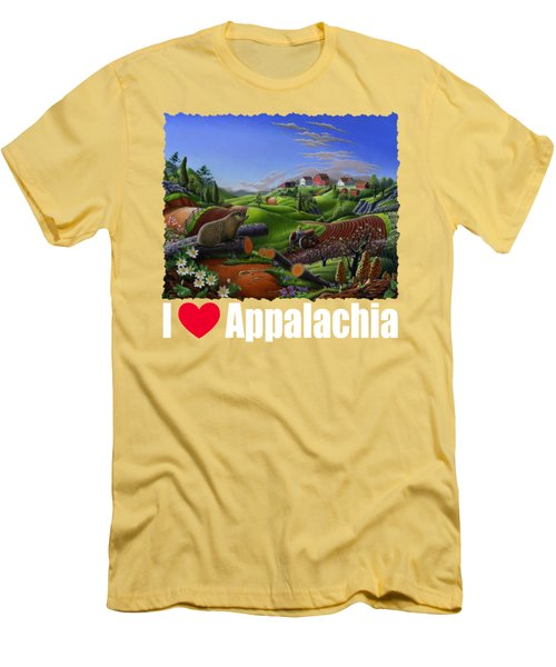 I Love Appalachia T Shirt - Spring Groundhog - Country Farm Landscape Men's T-Shirt (Athletic Fit)