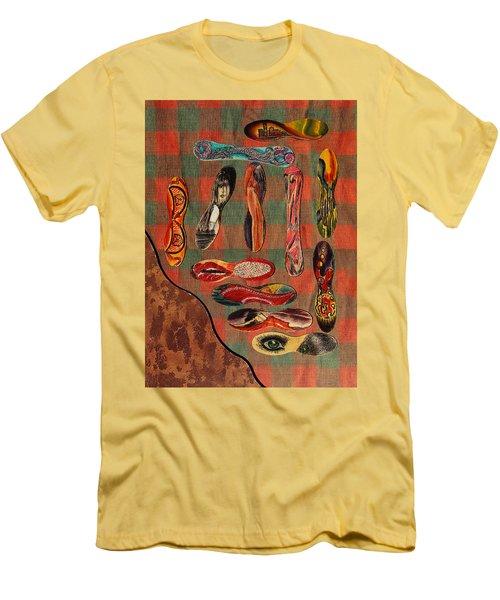 Men's T-Shirt (Slim Fit) featuring the painting Ice Cream Wooden Sticks by Viktor Savchenko