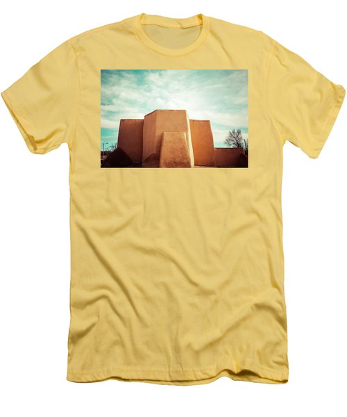 Men's T-Shirt (Slim Fit) featuring the photograph Iconic Church In Taos by Marilyn Hunt
