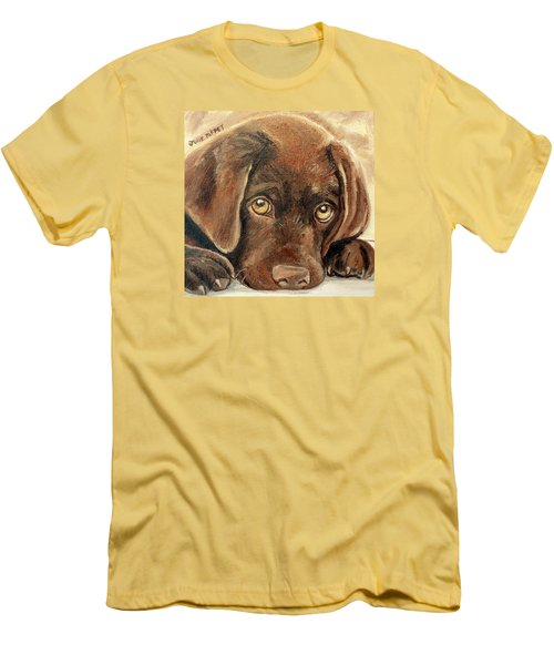 I'm Sorry - Chocolate Lab Puppy Men's T-Shirt (Slim Fit) by Julie Brugh Riffey