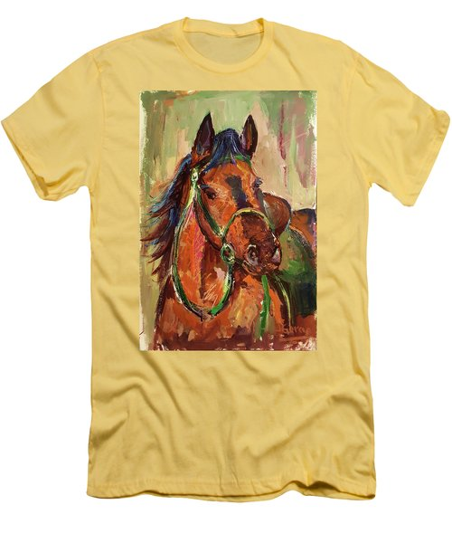 Impressionist Horse Men's T-Shirt (Slim Fit) by Janet Garcia
