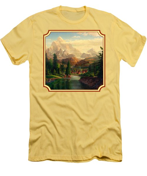 Indian Village Trapper Western Mountain Landscape Oil Painting - Native Americans -square Format Men's T-Shirt (Slim Fit) by Walt Curlee