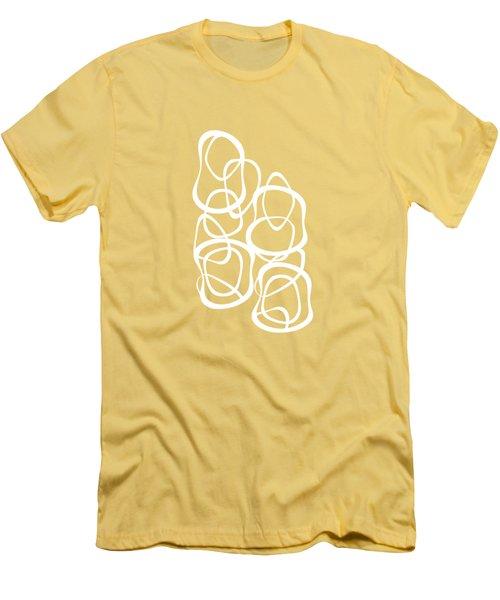 Interlocking - White On Coffee - Pattern Men's T-Shirt (Slim Fit) by Menega Sabidussi