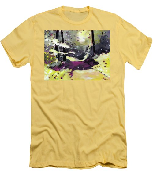 Men's T-Shirt (Slim Fit) featuring the painting Into The Woods 2 by Anil Nene