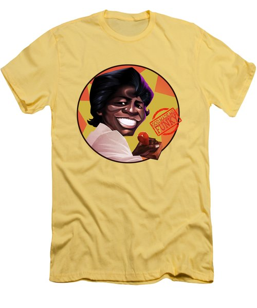 James Brown Men's T-Shirt (Slim Fit) by Nelson Dedos Garcia