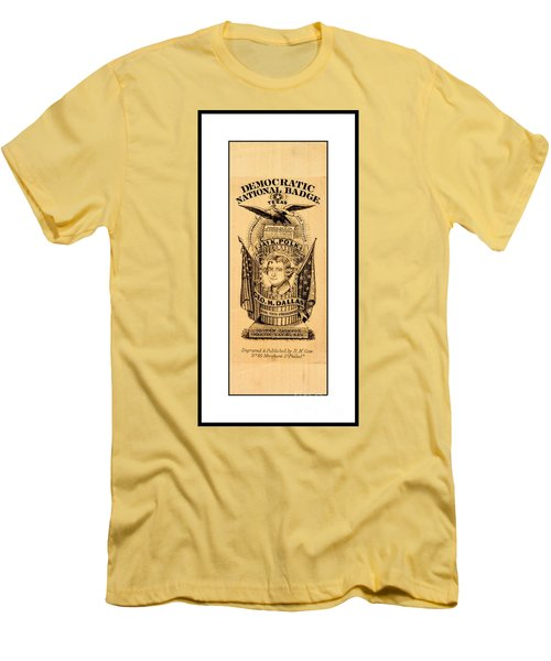 Men's T-Shirt (Athletic Fit) featuring the drawing James K Polk And George M Dallas 1840s Texas Democratic Party Silk Ribbon by Peter Gumaer Ogden