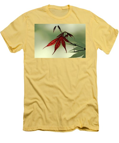 Men's T-Shirt (Slim Fit) featuring the photograph Japanese Maple Leaf by Ann Lauwers