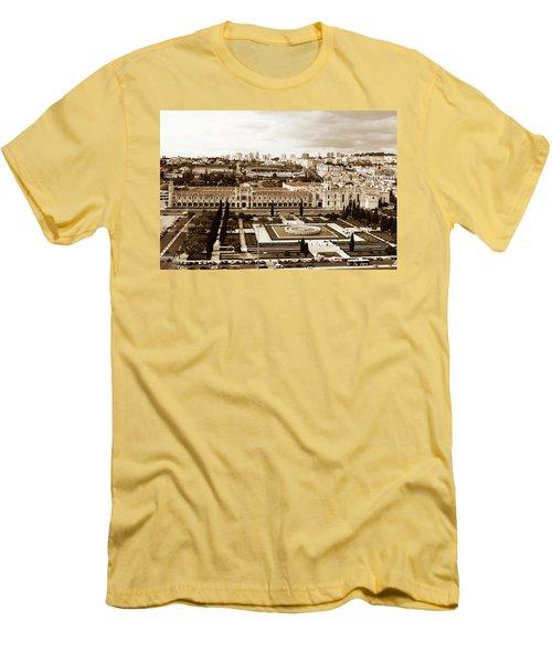 Jeronimos Monastery In Sepia Men's T-Shirt (Slim Fit) by Lorraine Devon Wilke