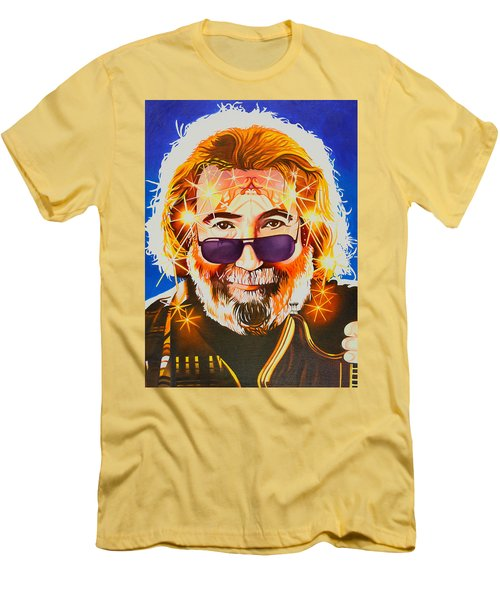 Men's T-Shirt (Slim Fit) featuring the painting Jerry Garcia-dark Star by Joshua Morton