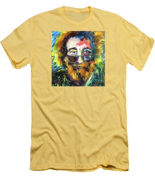 Men's T-Shirt (Slim Fit) featuring the painting Jerry Garcia by Les Leffingwell