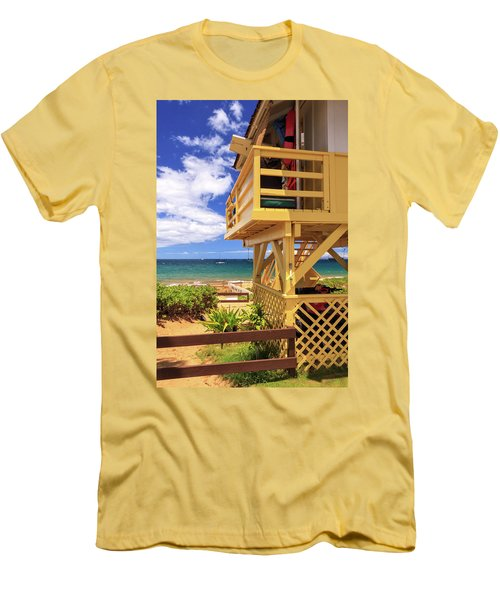 Kamaole Beach Lifeguard Tower Men's T-Shirt (Slim Fit) by James Eddy