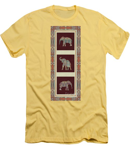 Kashmir Elephants - Vintage Style Patterned Tribal Boho Chic Art Men's T-Shirt (Slim Fit) by Audrey Jeanne Roberts