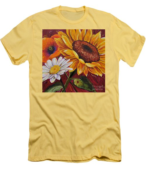 Men's T-Shirt (Slim Fit) featuring the painting Kathrin's Flowers by Lisa Fiedler Jaworski