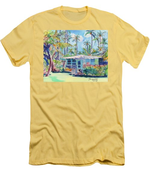 Kauai Blue Cottage 2 Men's T-Shirt (Slim Fit) by Marionette Taboniar