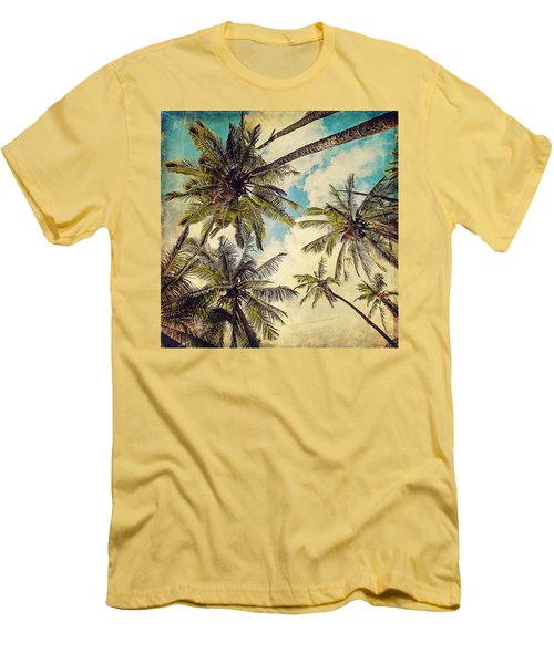 Kauai Island Palms - Blue Hawaii Photography Men's T-Shirt (Athletic Fit)