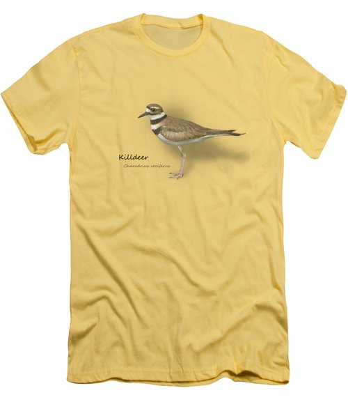 Killdeer - Charadrius Vociferus - Transparent Design Men's T-Shirt (Slim Fit) by Mitch Spence