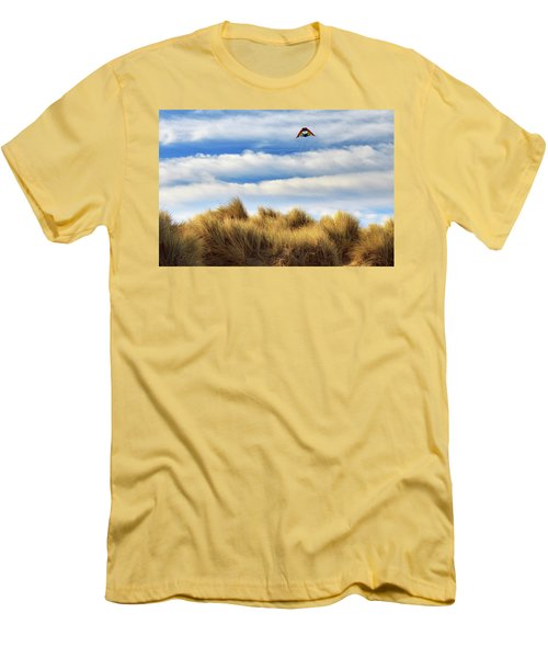 Men's T-Shirt (Slim Fit) featuring the photograph Kite Over The Hill by James Eddy