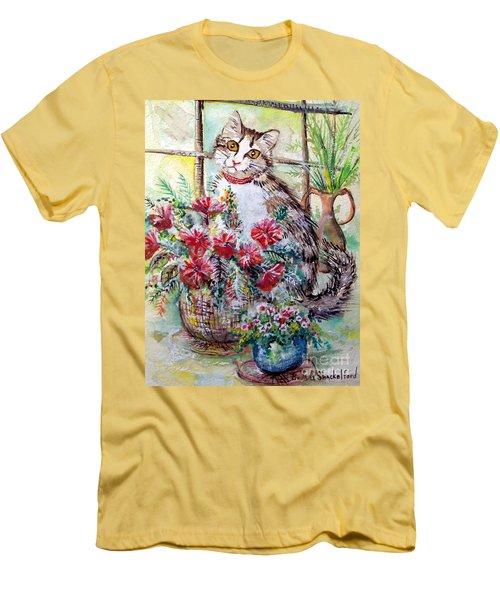 Kitty In The Window Men's T-Shirt (Slim Fit)