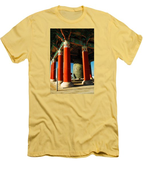 Men's T-Shirt (Slim Fit) featuring the photograph Korean Peace Bell San Pedro by James Kirkikis