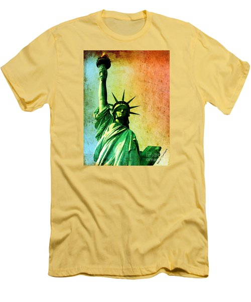 Men's T-Shirt (Slim Fit) featuring the painting Lady Liberty by Denise Tomasura