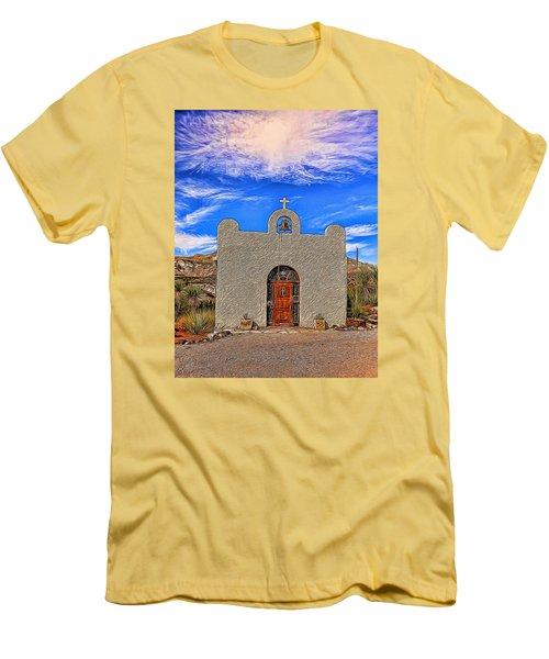 Lajitas Chapel Painted Men's T-Shirt (Slim Fit) by Judy Vincent