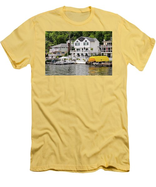 Men's T-Shirt (Slim Fit) featuring the photograph Lakefront Living Hopatcong by Maureen E Ritter