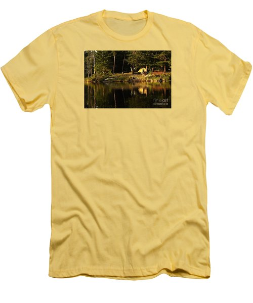 Men's T-Shirt (Slim Fit) featuring the photograph Lakeside Campsite by Larry Ricker