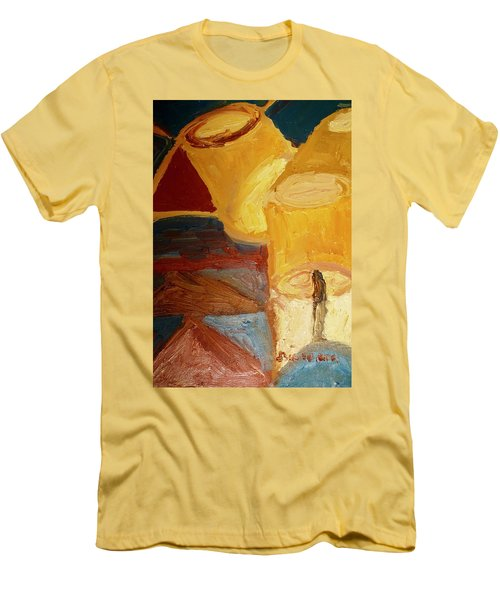 Men's T-Shirt (Slim Fit) featuring the painting Lamps In Color by Shea Holliman