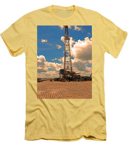 Land Oil Rig Men's T-Shirt (Slim Fit) by Ronald Olivier