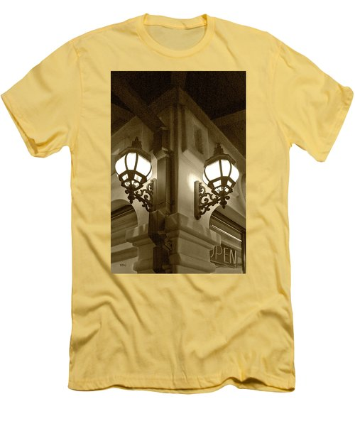 Men's T-Shirt (Slim Fit) featuring the photograph Lanterns - Night In The City - In Sepia by Ben and Raisa Gertsberg