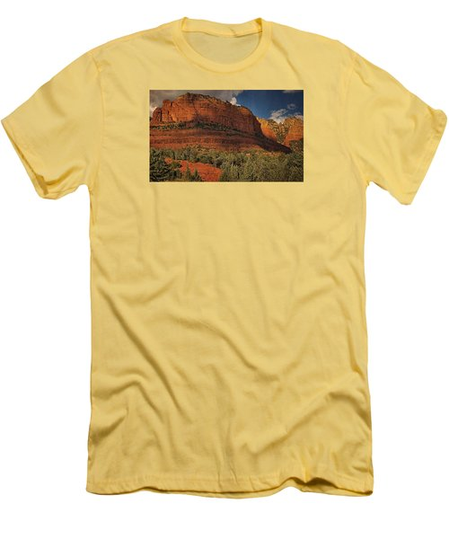 Late Light At Brin's Mesa Txt Pano Men's T-Shirt (Athletic Fit)