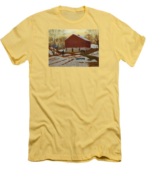 Late Winter At The Farm Men's T-Shirt (Slim Fit) by David Gilmore