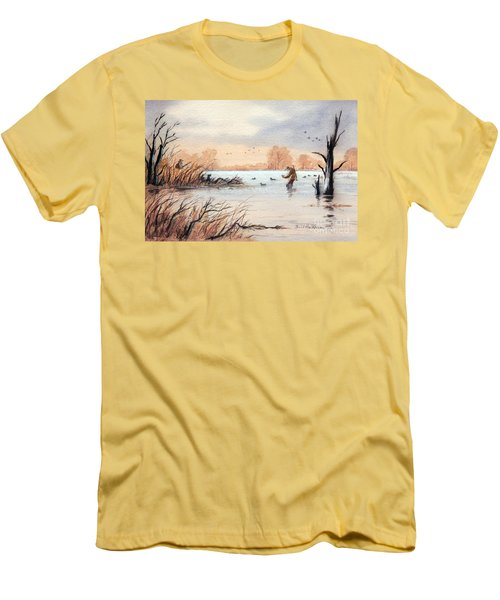 Laying Out The Decoys I Men's T-Shirt (Slim Fit) by Bill Holkham