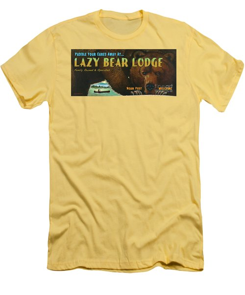 Lazy Bear Lodge Sign Men's T-Shirt (Athletic Fit)
