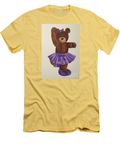Men's T-Shirt (Slim Fit) featuring the painting Leah's Ballerina Bear 2 by Tamir Barkan
