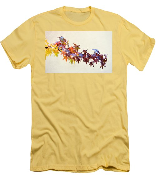 Men's T-Shirt (Slim Fit) featuring the photograph Leaves Of Many Colors by AJ Schibig