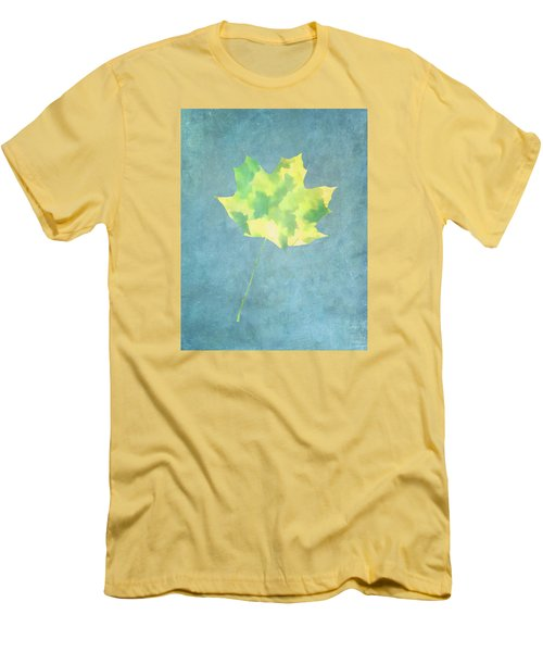 Men's T-Shirt (Slim Fit) featuring the photograph Leaves Through Maple Leaf On Texture 1 by Gary Slawsky