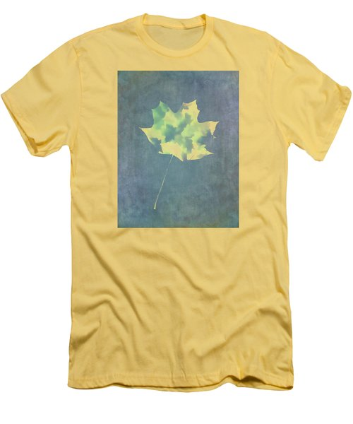 Men's T-Shirt (Slim Fit) featuring the photograph Leaves Through Maple Leaf On Texture 3 by Gary Slawsky