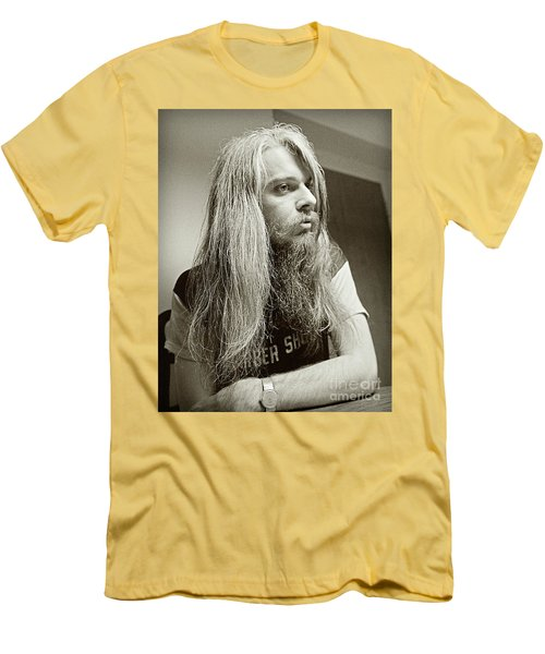 Men's T-Shirt (Slim Fit) featuring the photograph Leon Russell 1970 by Martin Konopacki Restoration